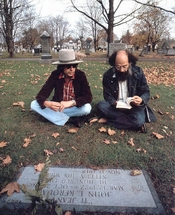 Bob Dylan and Allen Ginsberg at Kerouac's grave